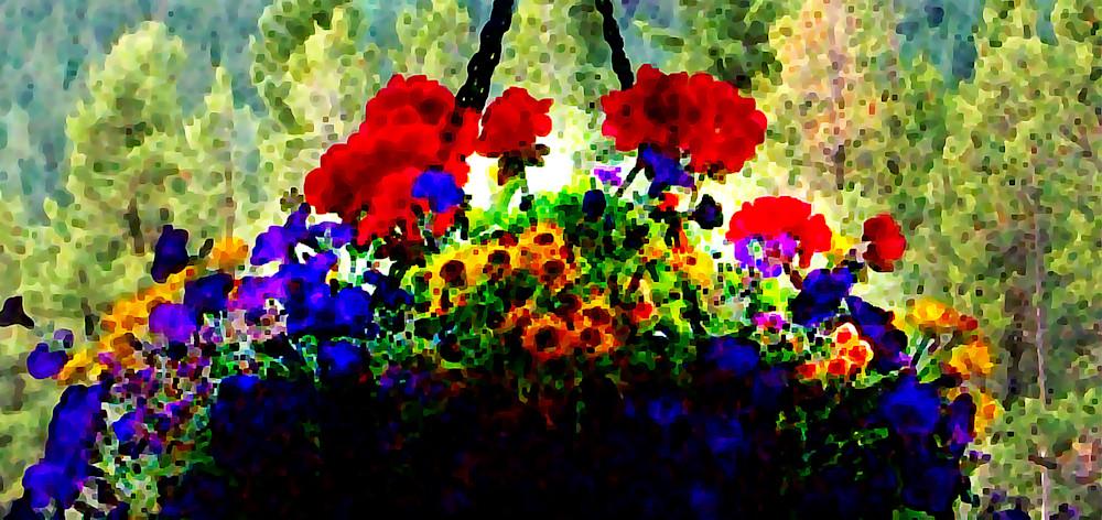 Digitized Summer Flower Basket - Prints Only