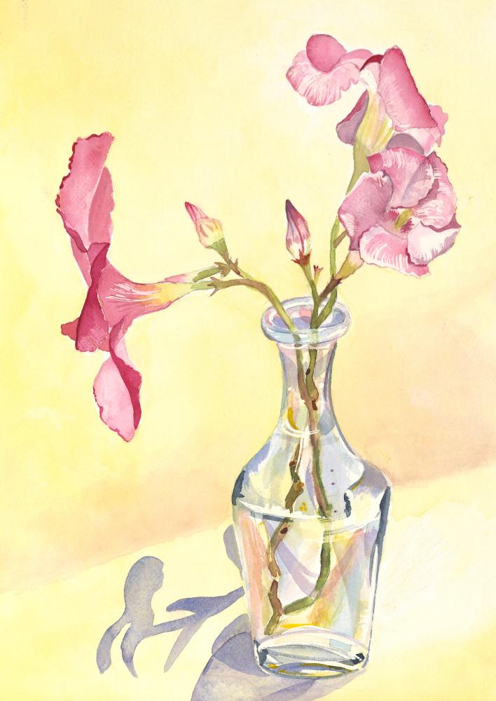 Mandevillas In A Vase  Art | Katherine Rodgers Fine Art