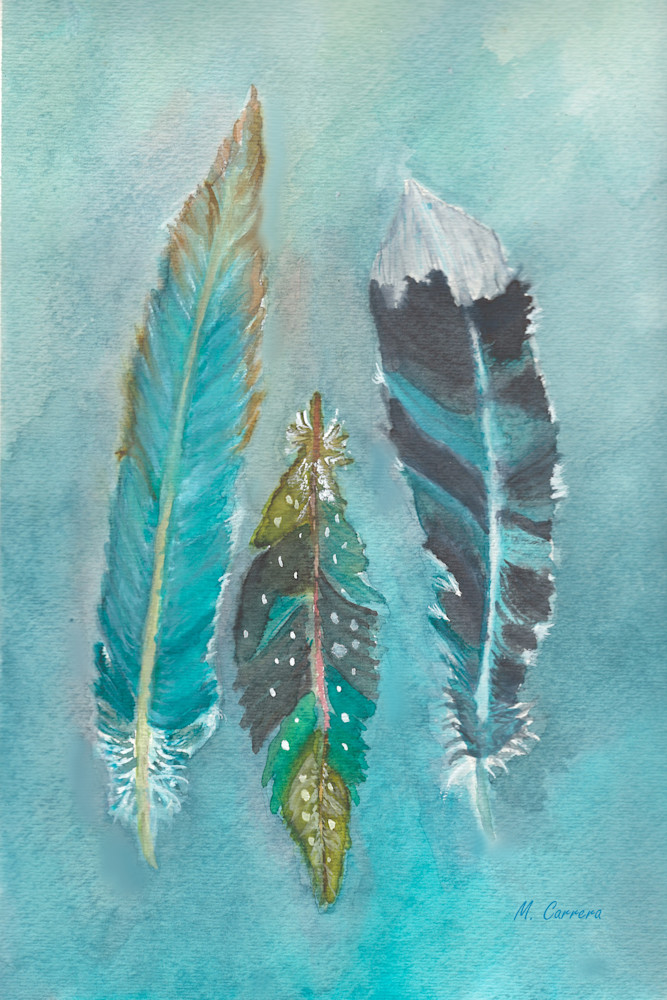 Three Feathers Watercolor Print