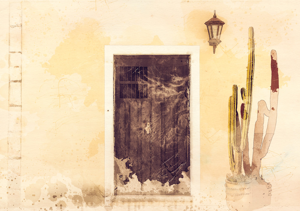 Siesta - Digital watercolor image of a Mexican house and cactus photograph print
