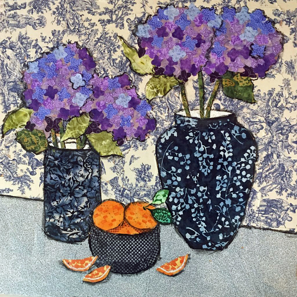 HYDRANGEA AND ORANGES (2) PRINT by Sharon Tesser