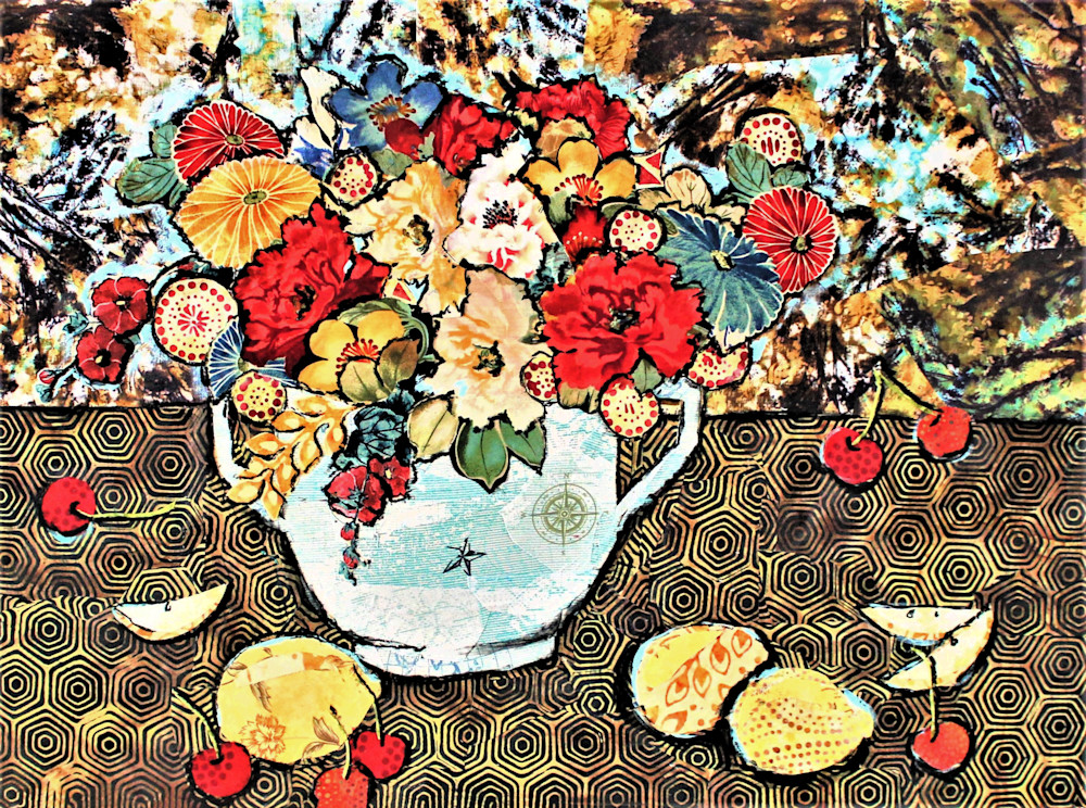 Still Life with Cherries and Lemons is a print from a Sharon Tesser original.