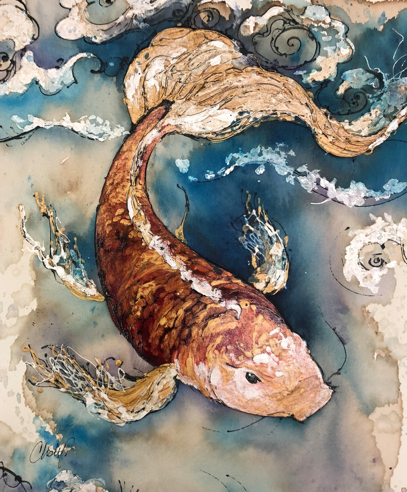 Orange Koi Fish Original Artwork