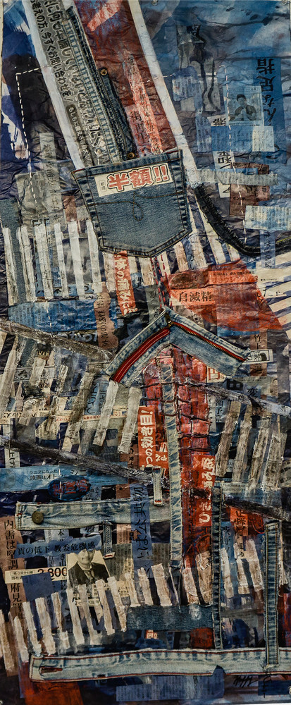 """""""Shibuya Crossing 2"""" i by Muffy Clark Gill is from a series of mixed media artwork.  Chaos, clutter, and color were feelings evoked while viewing the scenes in transit at Shibuya Crossing—the world's most heavily pedestrian trafficked intersection."""