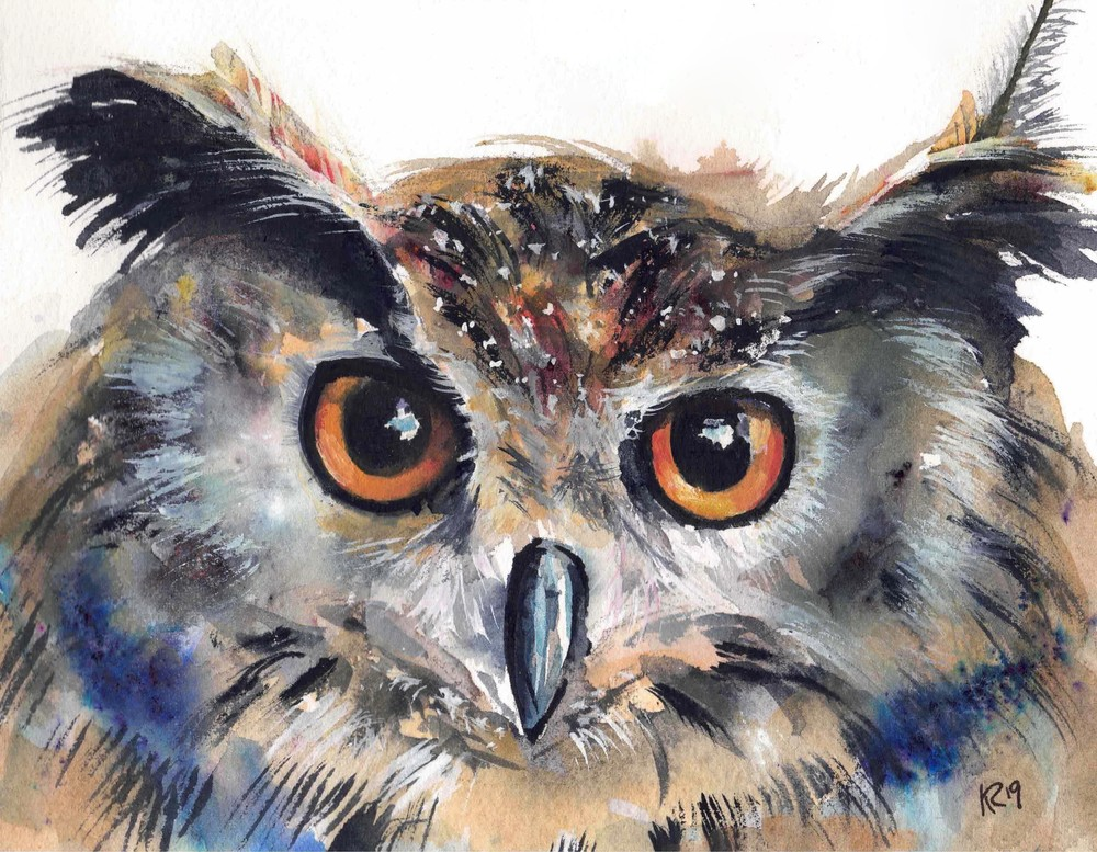 Owlbert  Art | Katherine Rodgers Fine Art