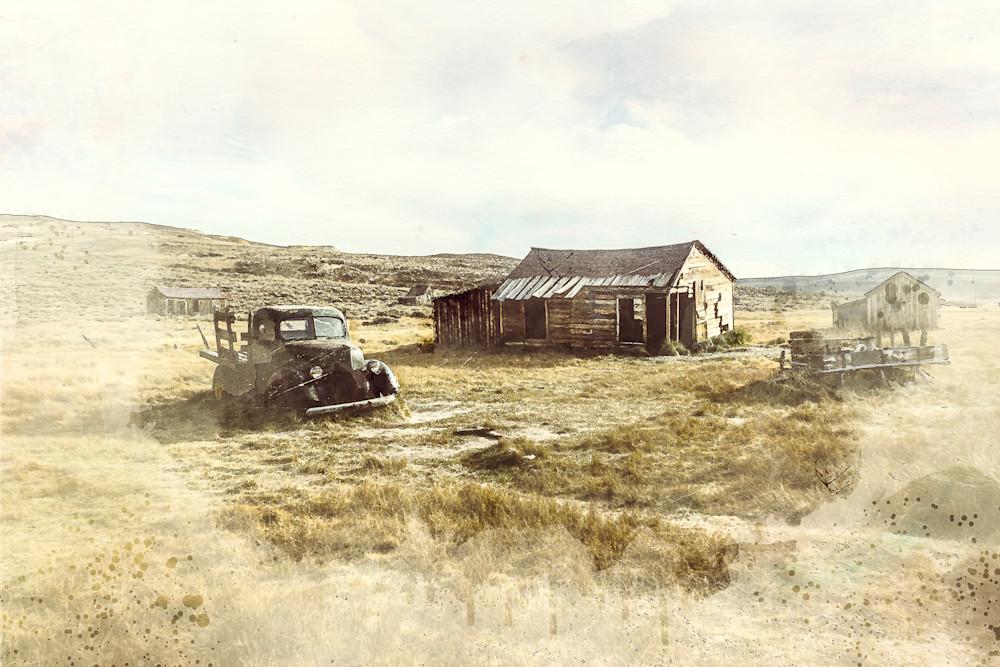 Siesta - Digital watercolor image of an old homestead in California photograph print