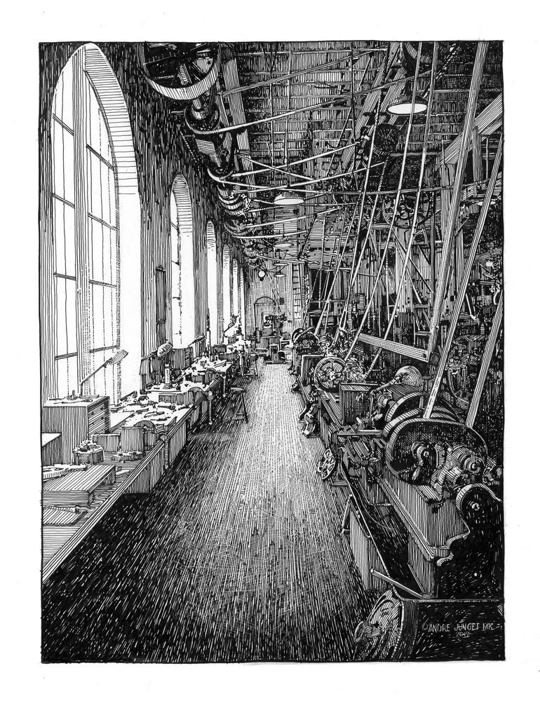 Lathe Line: Edison Museum Art | Andre Junget Illustration LLC