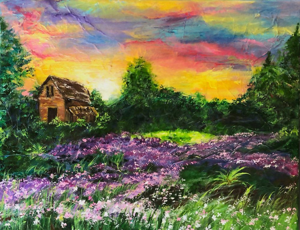 House by the Purple Fields by Superna Sain, , an Artist from India