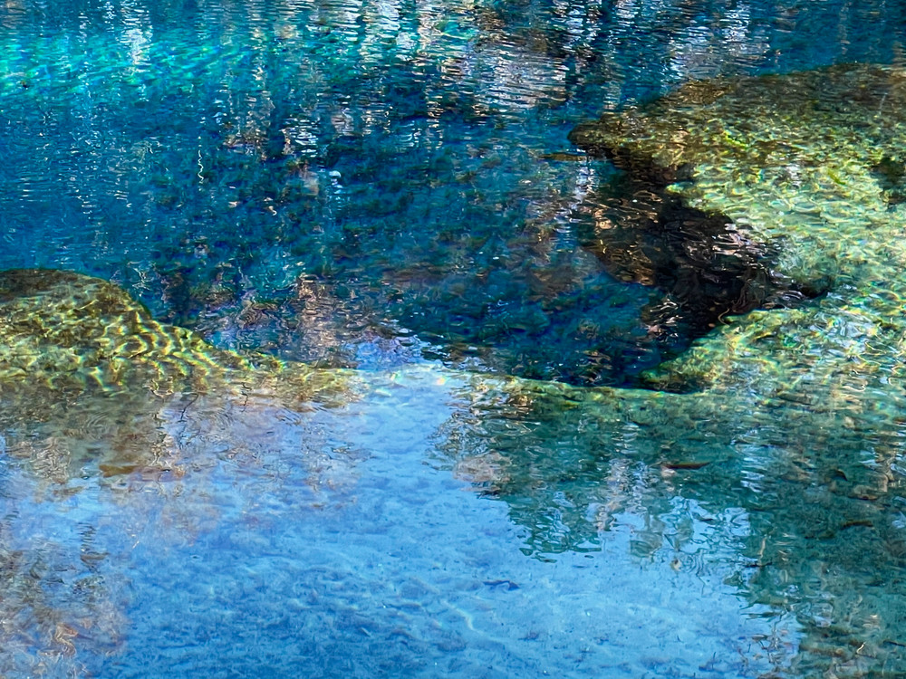 Crystal Blue Pocket by Muffy Clark Gill focuses on the depths of the springhead at Gilchrist Blue Springs State Park in Florida.