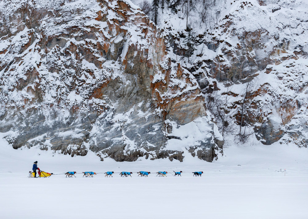 Hans Gatt runs on the Yukon River with the rocks at the Ruby checkpoint during the 2017 Iditarod on Thursday morning March 9, 2017.  Photo by Jeff Schultz/SchultzPhoto.com  (C) 2017  ALL RIGHTS RESERVED