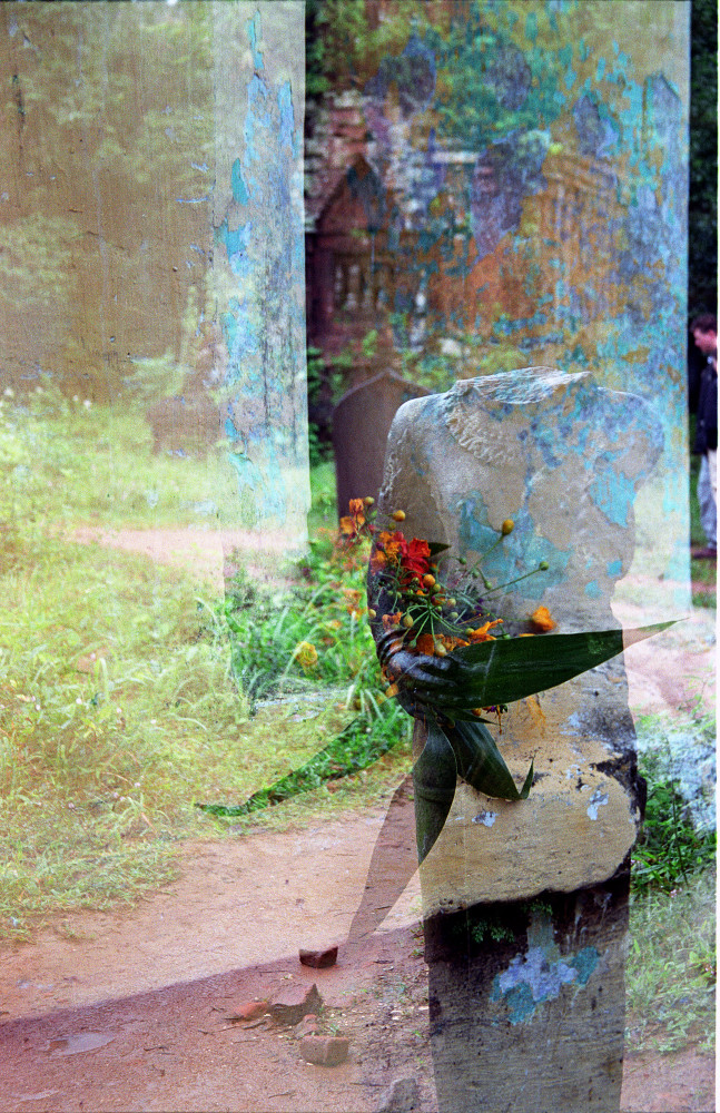 Statue, flowers and double exposure at My Son