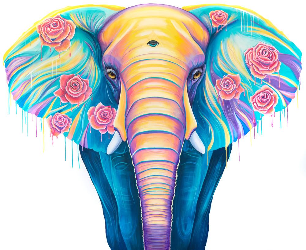 Flower Melting elephant print