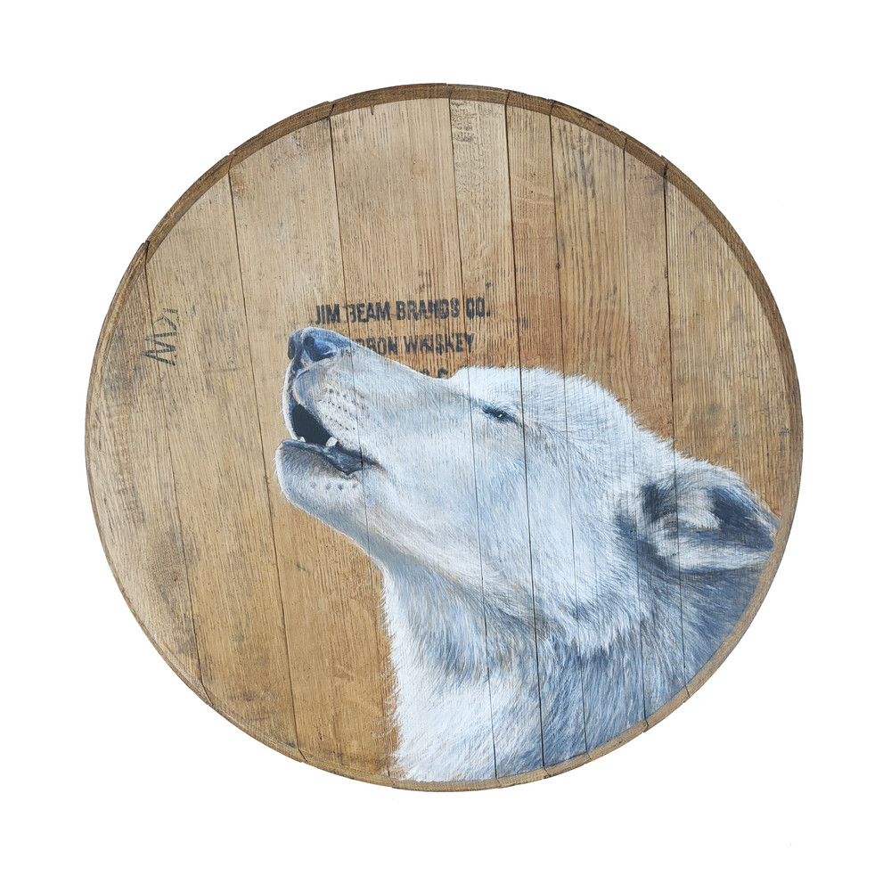 Whiskey Wolf Bourbon Barrel Art | Lori Vogel Studio