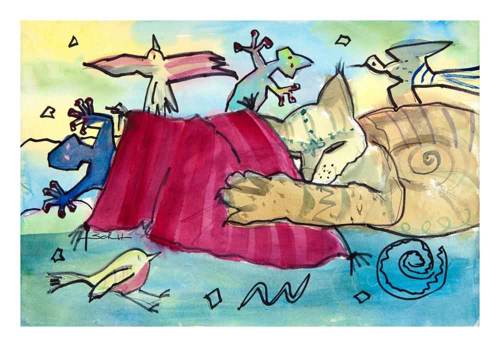 Do Cats Dream In Color Art | Elaine Schaefer Hudson Art