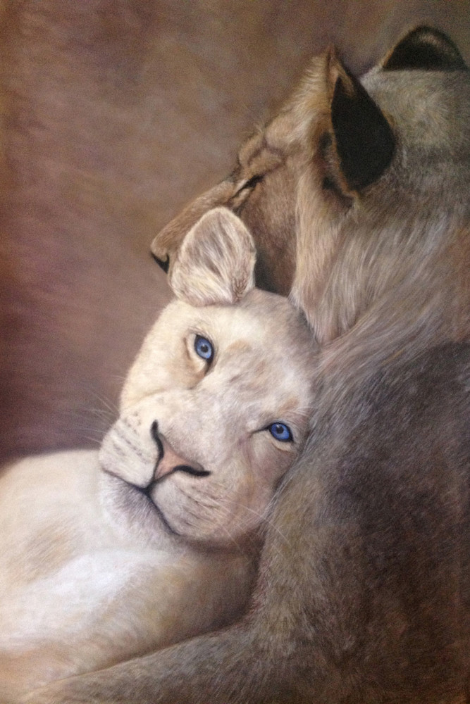 Leaning on Her Beloved, by Nancy Conant, is all about lion love!