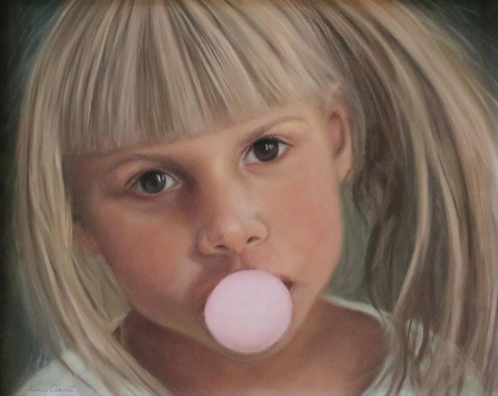 girl blowing bubble gum, Meggie Boop by Nancy Conant