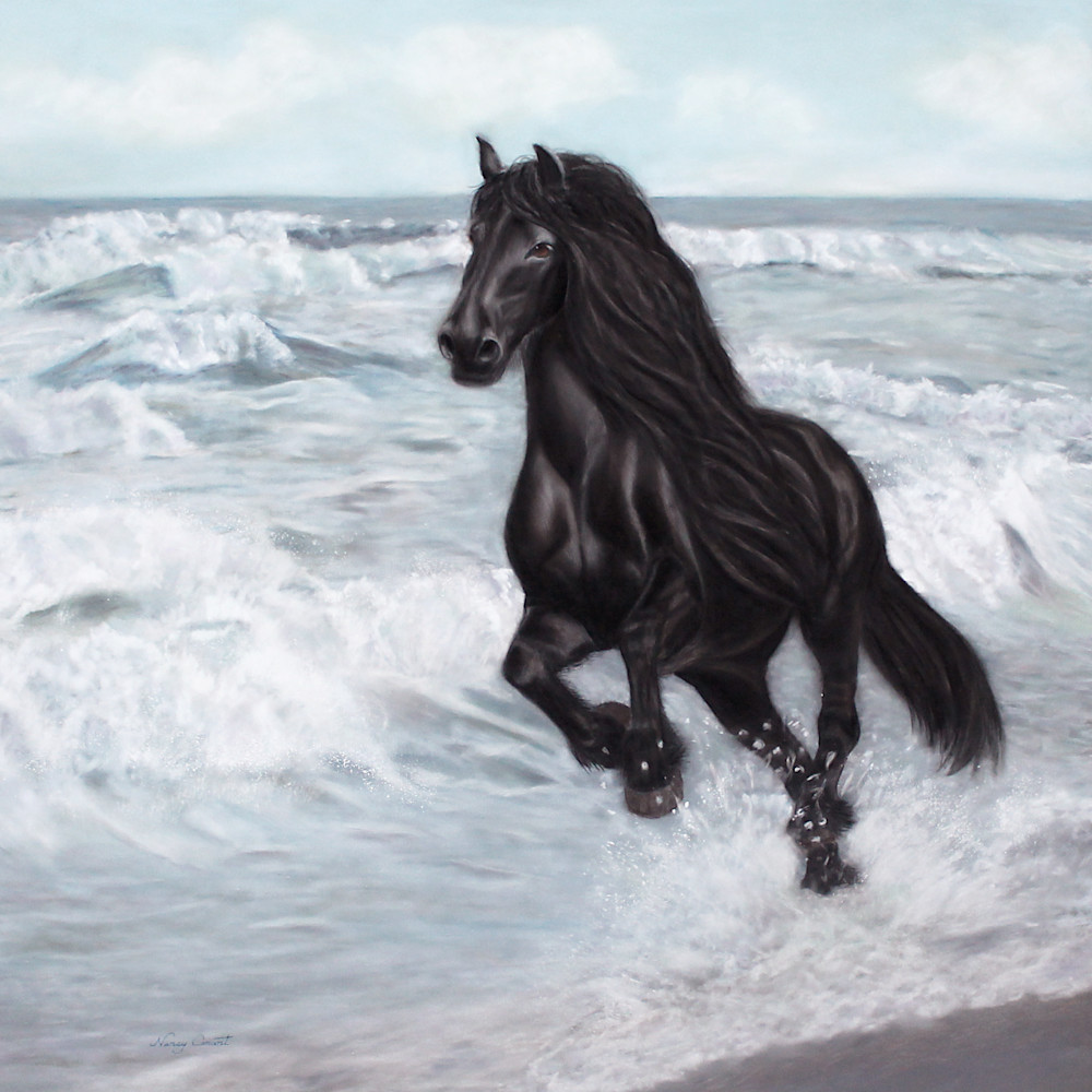 Wave Rider by Nancy Conant is a horse running on the beach