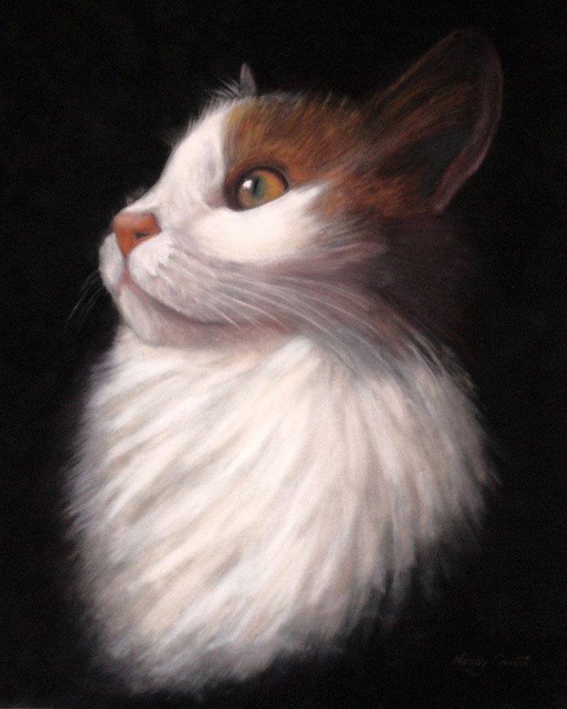 Calico cat painting Xoey by Nancy Conant