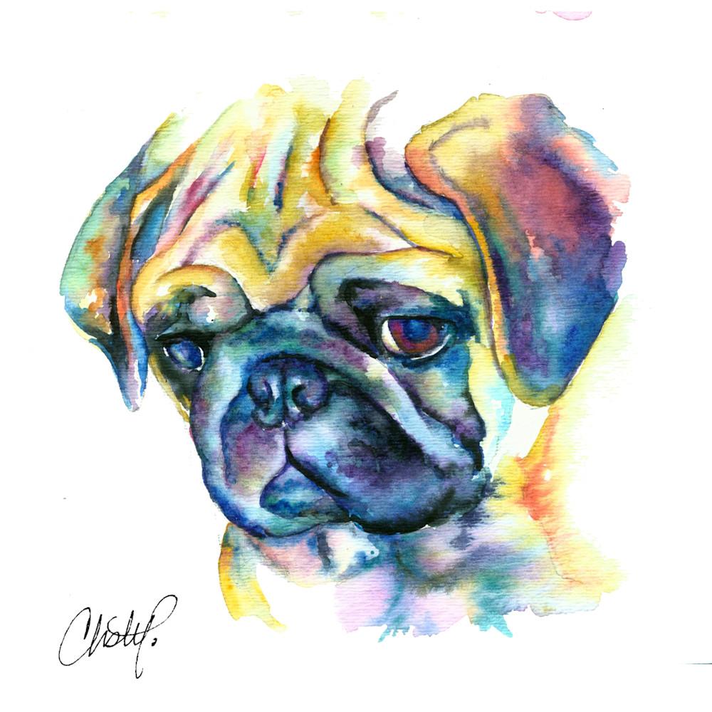 Pug watercolor fine art print