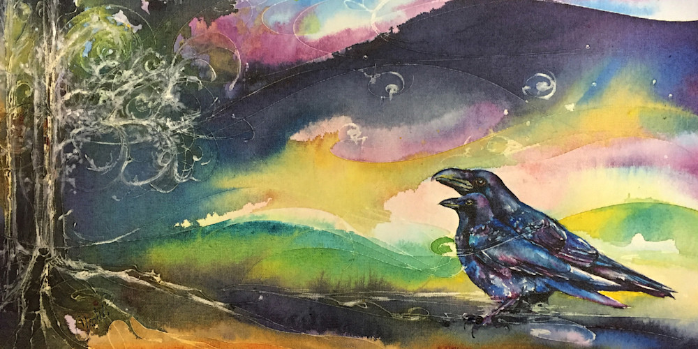 Crow and Raven Watercolor Horizontal Painting