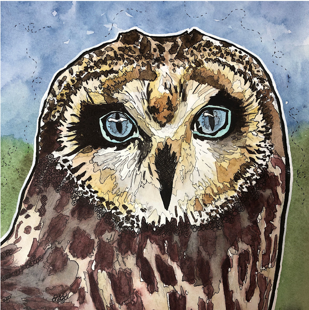 Blue Eyed Owl Art   Water+Ink Studios