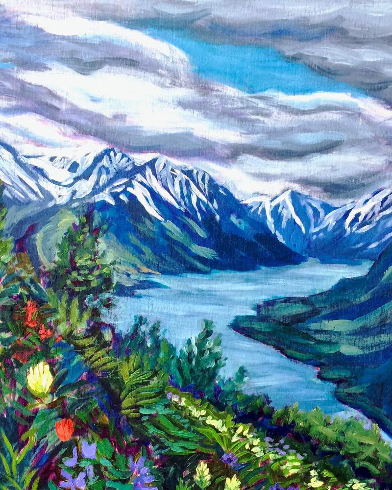 Turnagain Arm Mountains and Flora by Hope, Alaska, Art print by Amanda Faith Thompson