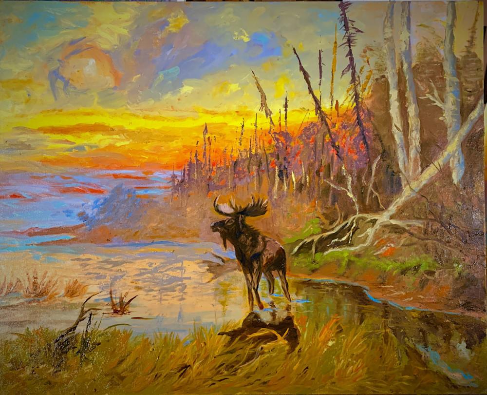 "A Study Of John Fery's ""Moose At Sunrise"" Art | Scott Dyer Fine Art"