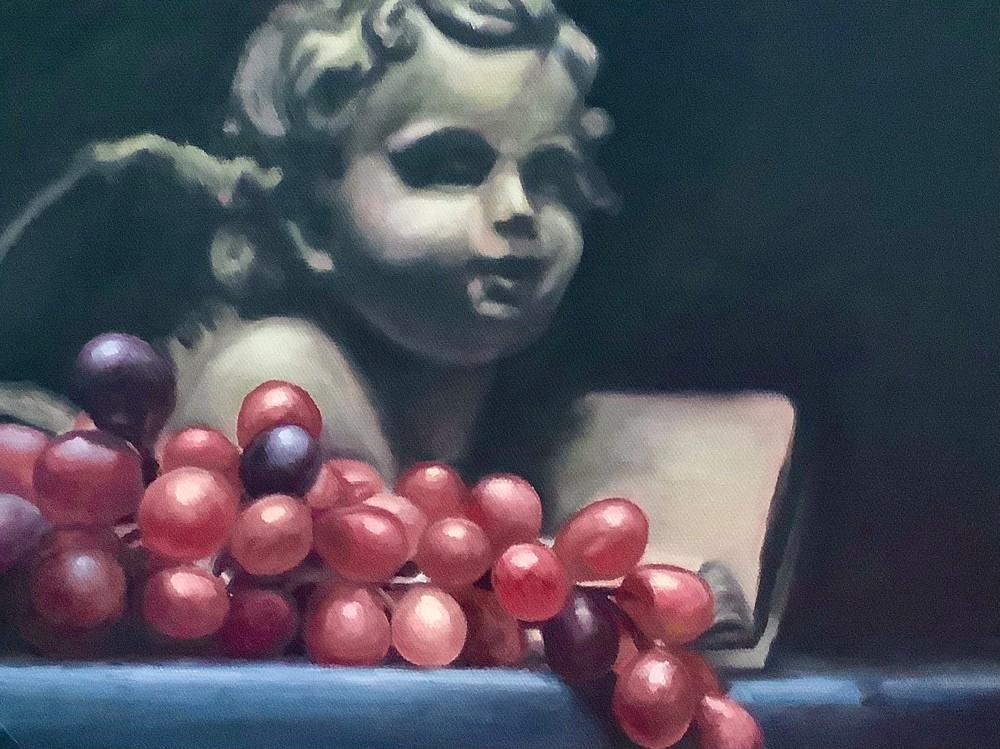 Study of cherub cast and grapes custom digital print