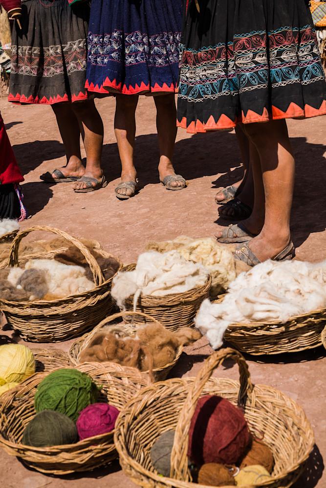 Women spinning alpaca yarn