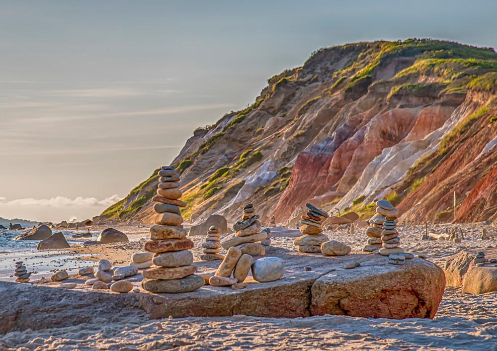 Gay Head Cliffs Summer Cairn Art   Michael Blanchard Inspirational Photography - Crossroads Gallery