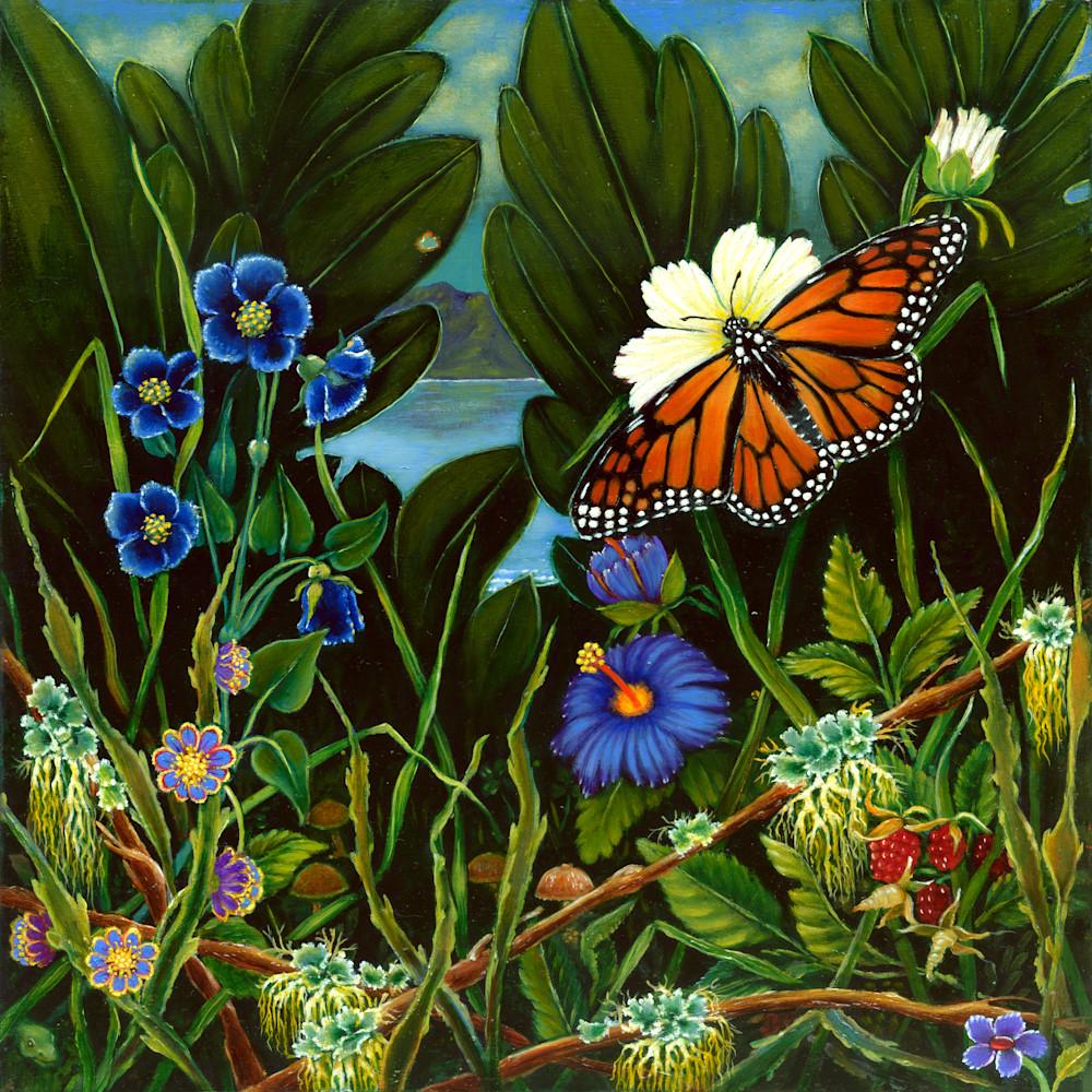 Monarch On White Flower Art | miaprattfineart.com