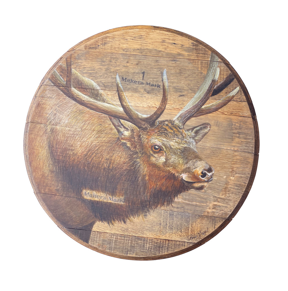 Elk Barrelhead Art | Lori Vogel Studio