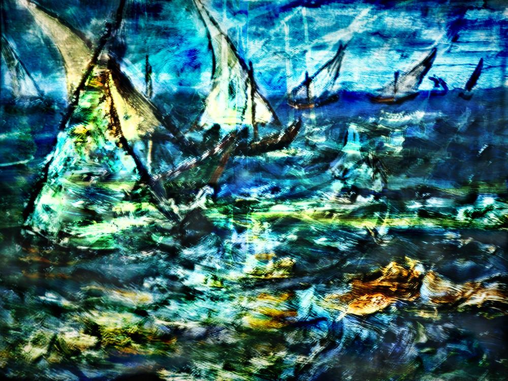 Gogh Sailboats Art   KJ's Studio