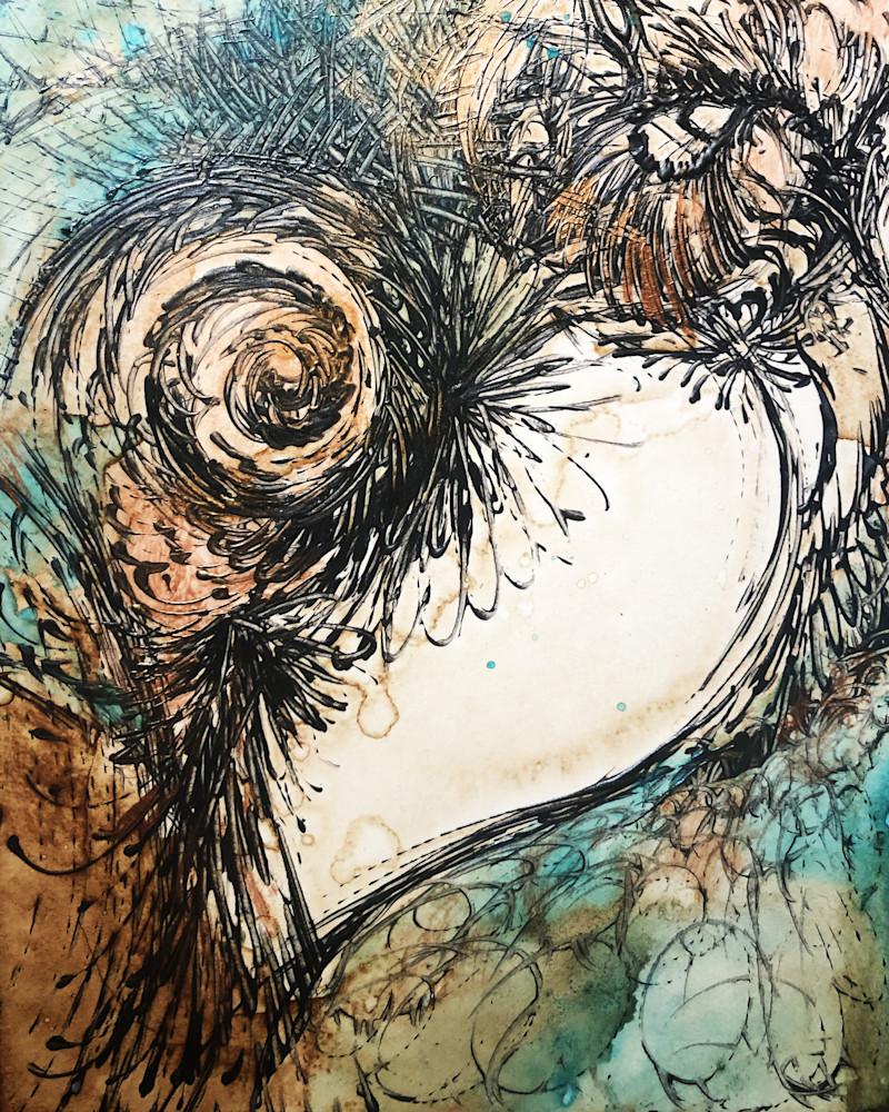 Swirly Java Heart Coffee Painting