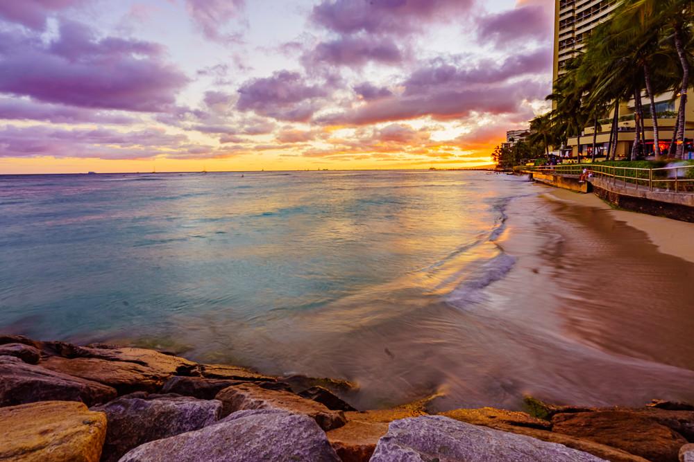 Waikiki Beach Sunset In Hawaii Fine Art Print Art   McClean Photography