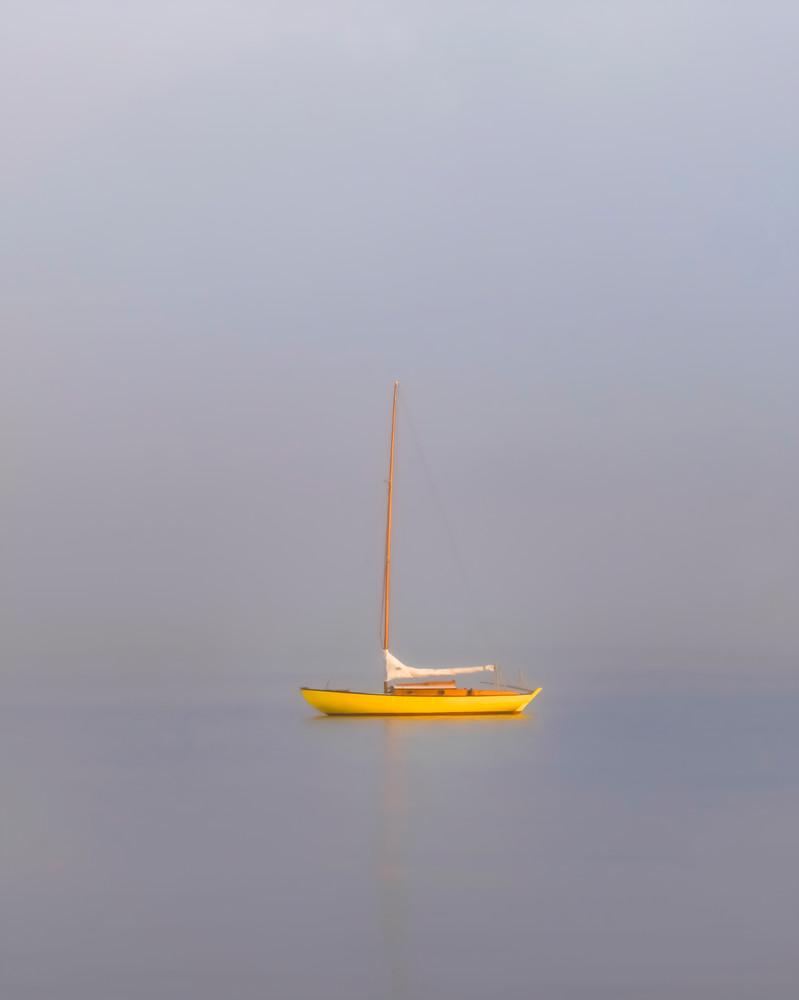 Yellow Sailboat Fog Art | Michael Blanchard Inspirational Photography - Crossroads Gallery