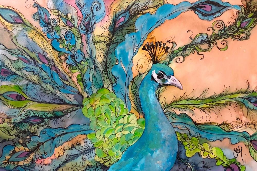 Cyan Blue Peacock mixed media original artwork