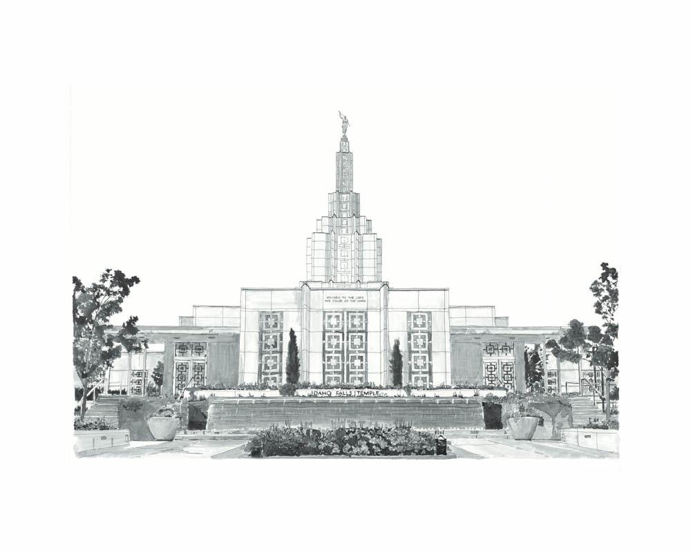 Idaho Falls Idaho Temple B&W