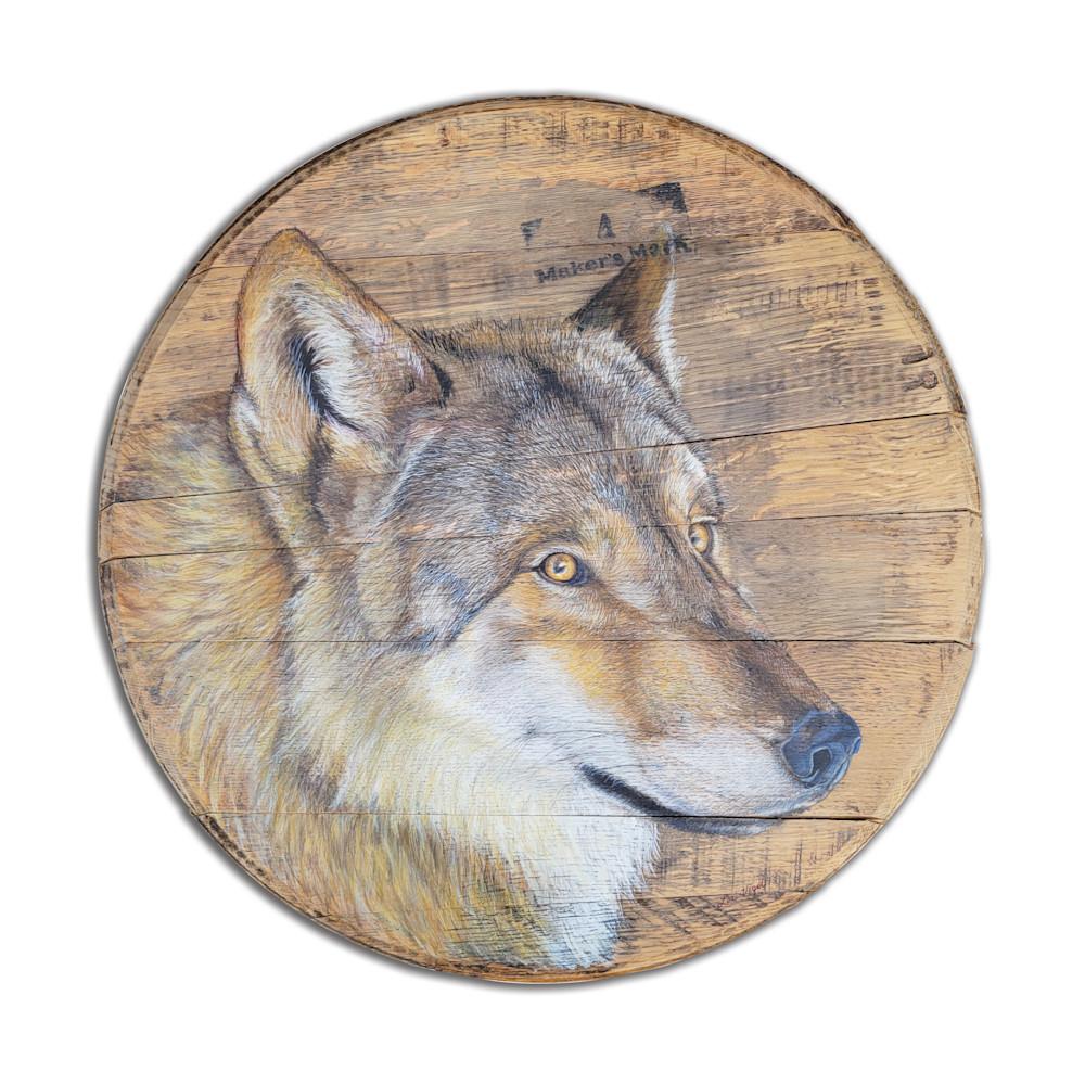 grey wolf, bourbon lid paiinting