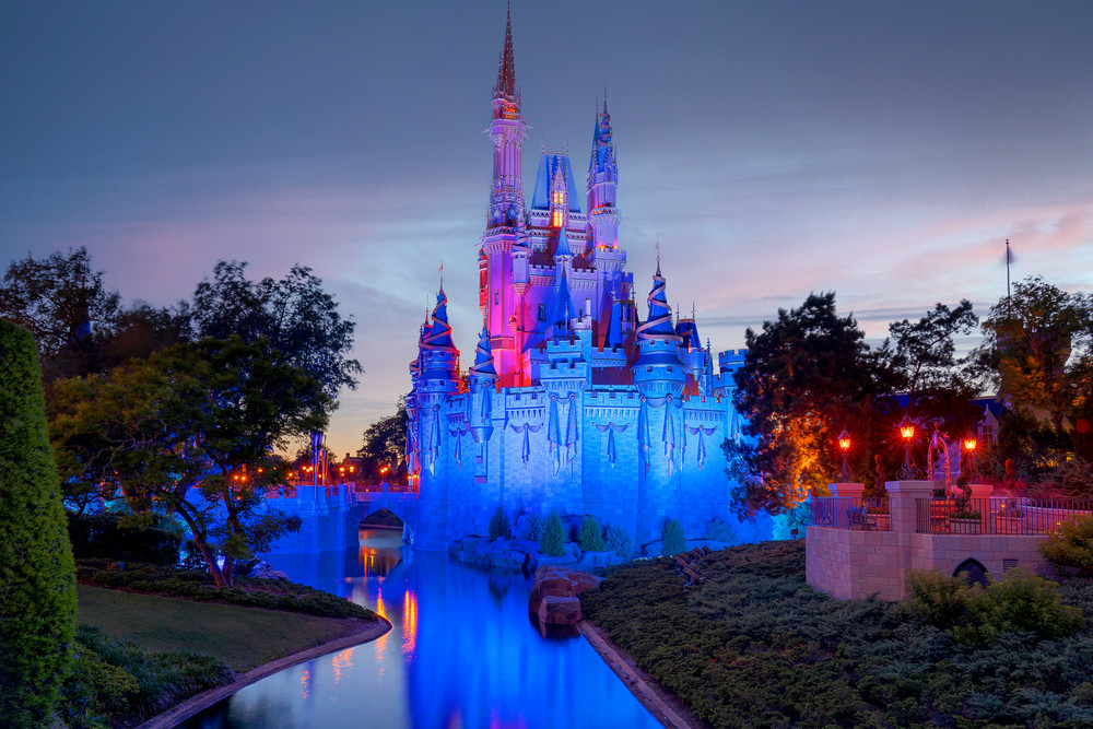 50th Anniversary Cinderella's Castle at Dusk - Disney Wall Art for Adults