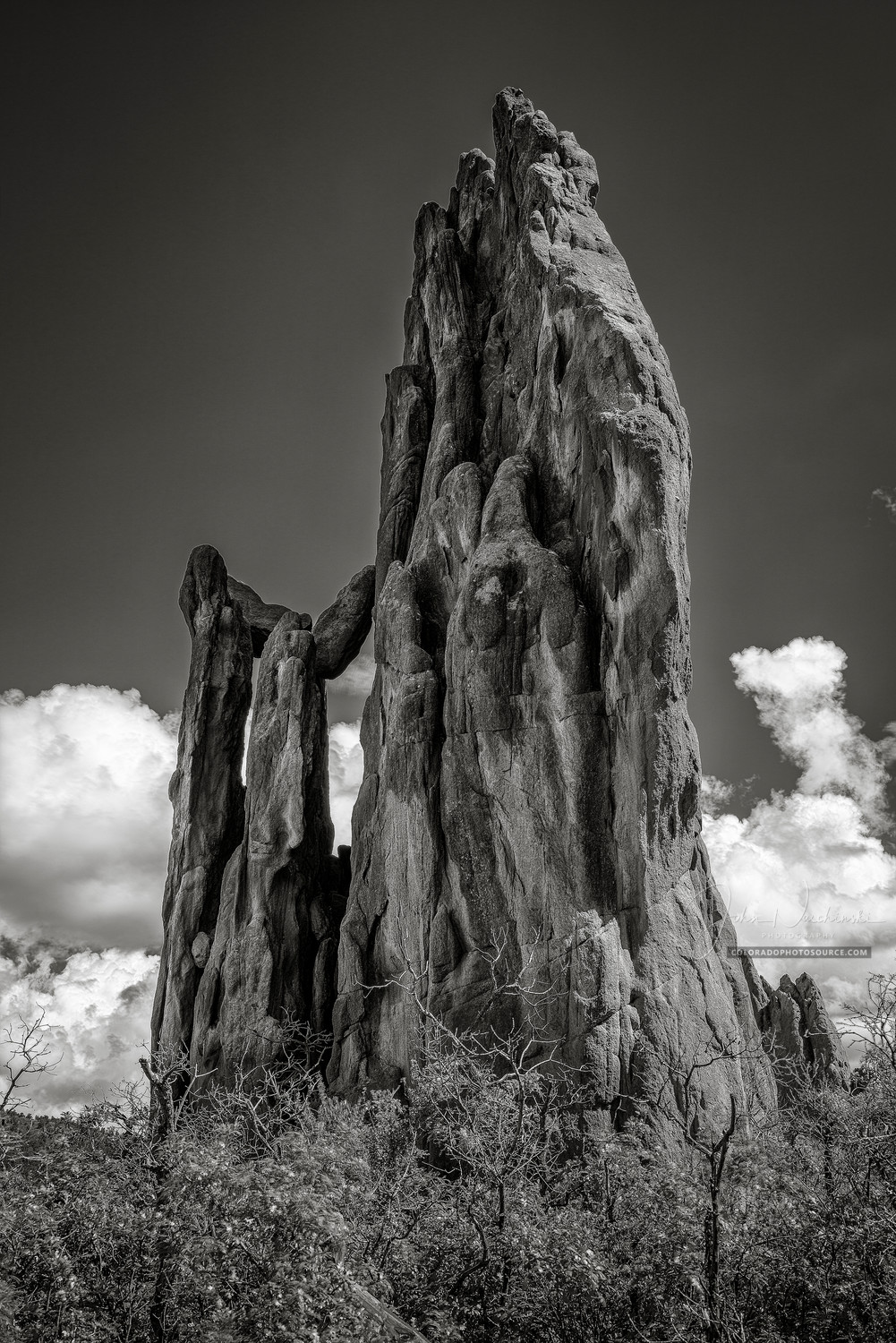 93723cee1b B&W Photo Garden of the Gods in Colorado Springs Vertical Image