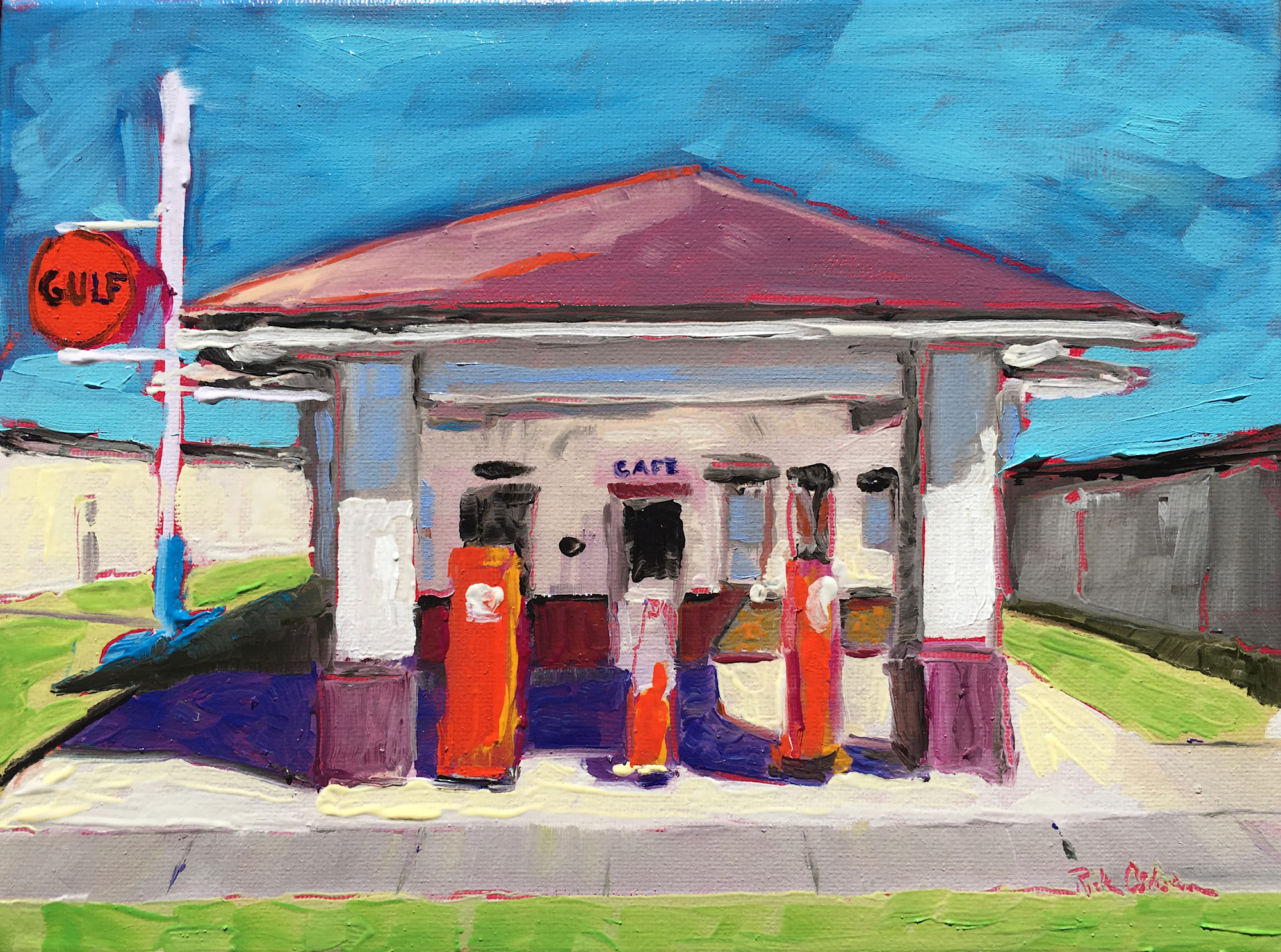 Gulf In My Heart Old Gulf Gas Service Station Oil Painting Print