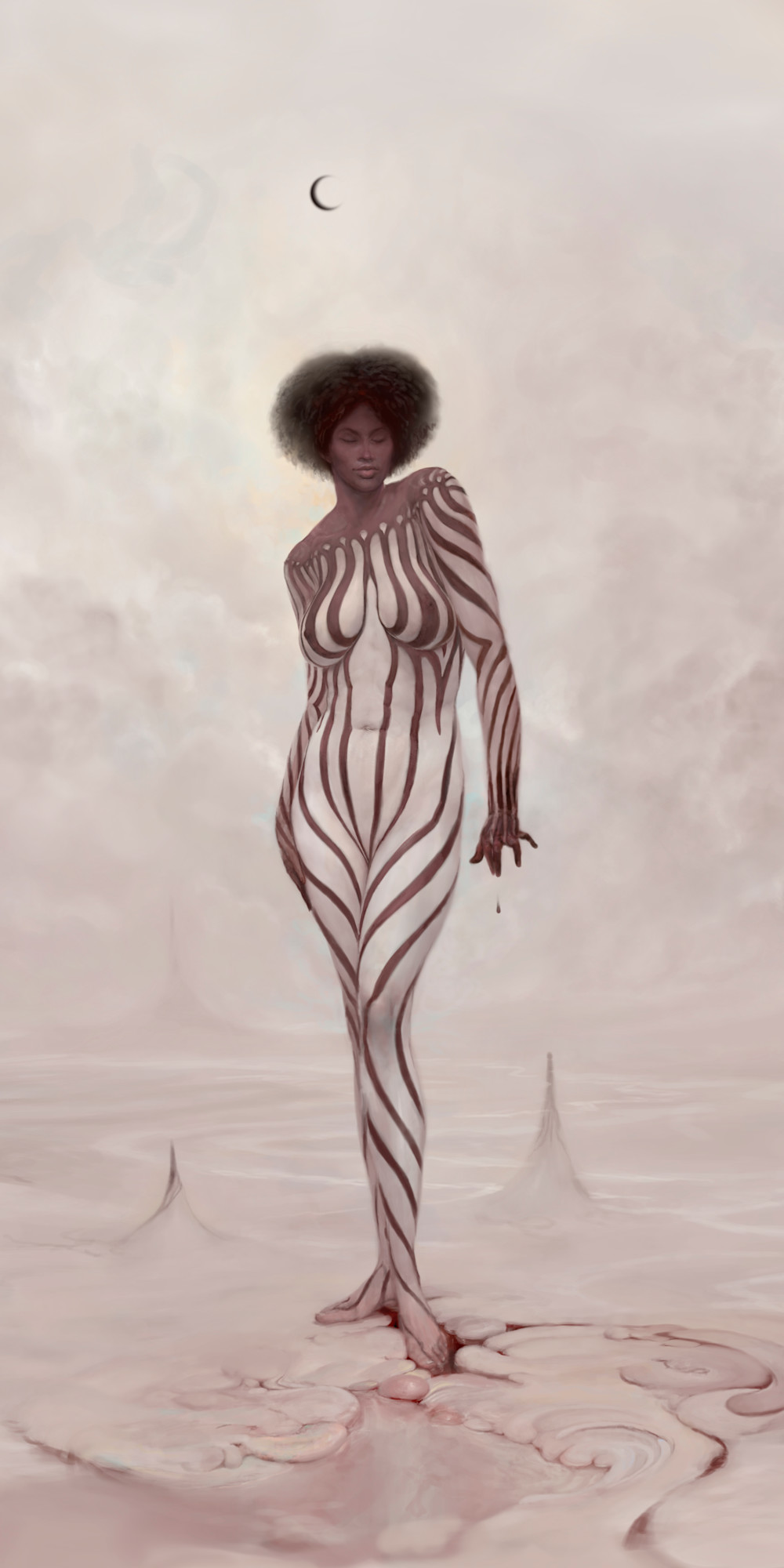 """ZEBRA,"" by Burton Gray, White Striped Nude Black Princess"