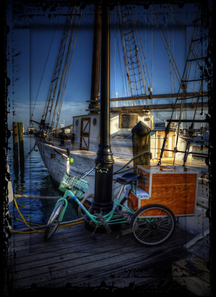 Lynda Tygart Bicycle in Key West Florida Marina – Fine Art Photographs Prints on Canvas, Paper, Metal & More.