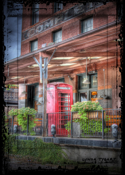 Lynda Tygart Cafe Telephone Booth Old Market Omaha Nebraska – Fine Art Photographs Prints on Canvas, Paper, Metal and More.