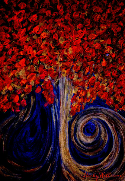 """""""Red Tree On A Dark Night"""" by Nicky Williams Prophetics Gallery"""