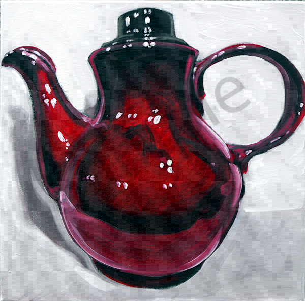 """Cherry Red Clay Pot"" by Serbian Artist Andrei Cicală 