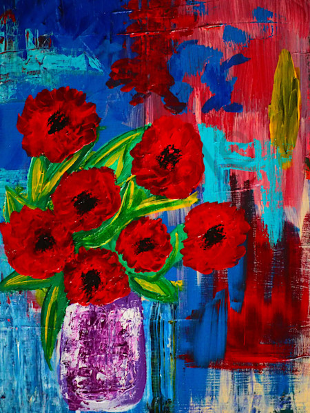 Poppies in vase | painting | Dewey | Art | abstract art | fine art | Dewey Mann | Dewey Mann Art | acrylic | canvas | flowers | poppies | Vase |