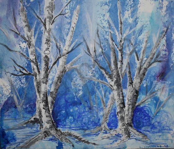 Birch, trees, winter, frost