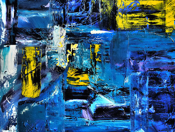 Blue Divison Layered -Abstract Painting, Dewey Mann Art, Abstract Art Painting with texture by Dewey Mann